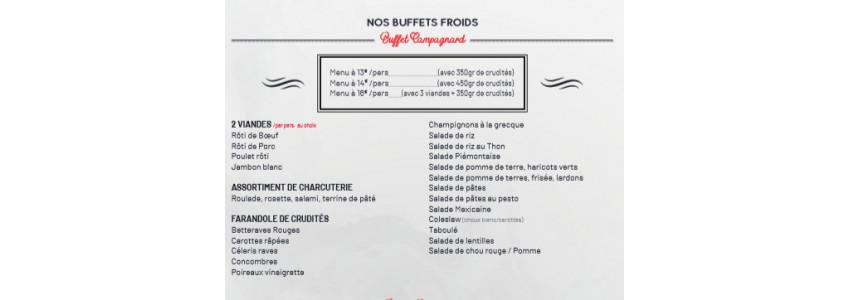 Nos menus de 40 à 50 personnes